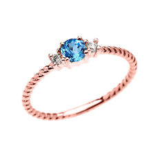 10k Rose Gold Dainty Solitaire Blue Topaz & White Topaz Rope Stackable Ring