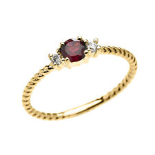 10k Yellow Gold Dainty Solitaire Garnet & White Topaz Rope Stackable Ring