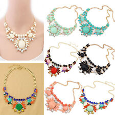 Fashion Charm Crystal Bib Statement Chunky Choker Chain Flower Pendant Necklace