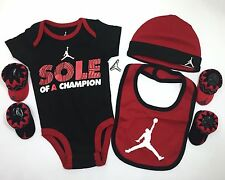 AIR Jordan 5pc BOYS Outfit Gift Set Newborn Bodysuit, Bib, Cap and Booties 0-6M.