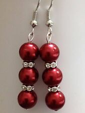 Beautiful mix color 8mm 3 glass faux pearl tibet silver crystal dangle earrings