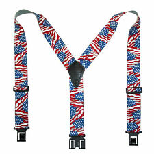 New Perry Suspenders Men's Elastic Hook End American Flag Suspenders (Tall