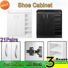 21Pairs Shoe Cabinet Rack Shelves Storage Organiser Shelf 2 Doors Cupboard