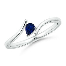 Pear Shape Natural Blue Sapphire Solitaire Ring in 14k White Gold Gift For Her