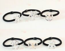Women Lady Crystal Flower Butterfly Hairband Ponytail Holder Elastic Hair Band