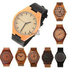 New Fashion Natural Wood Mahogany Brown Black Leather Strap Watch Wristwatch