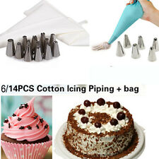 Icing Piping Nozzles Set 6/14 Steel Nozzles Cake Icing Piping set Bag + Coupler