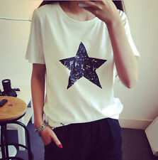 Loose Hot Casual Shirt Women Summer Pentagram Cotton Blouse New Ladies Top