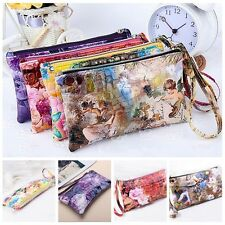 Women Lady PU Leather Coin Bag Case Card Holder Phone Zip Clutch Wallet Purse FF