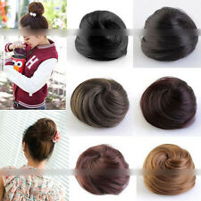 Stylish Pony Tail Women Clip in/on Hair Bun Hairpiece Extension Scrunchie FF