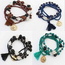 Lady Fashion Bohemian Multilayer Mixed Acrylic Beads Rhinestone Elastic Bracelet