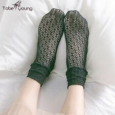 New Japanese Lolita Style Hollow Out Crochet Lace Slouch Ruffle Long Ankle Socks