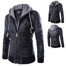 New Stylish Mens Slim Fit Hooded Outwear Motorcycle Biker PU Leather Jacket Coat