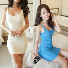 New Women Camisole Straps Long Vest skirt Tank Top Sleeveless Slim Mini Dress SH