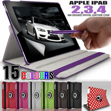360 Rotating Stand Folding Swivel Case Flip Wallet Cover for Apple iPad 4 3 2