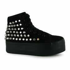 Jeffrey Campbell Play hOMG Platform Shoes Womens Black/Silver Trainers Sneakers