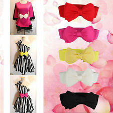 Fashion Women Sweet Bowknot Elastic Bow Wide Stretch Buckle Waistband Waist Belt