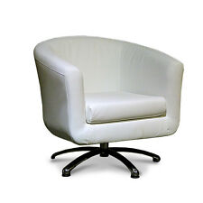 White Swivel Leather Tub Chair Lounge Furniture Bucket Seat Office Chairs