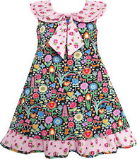 Girls Dress Bow Tie Pink Floral Turn-Down Collar and Trim Size 4-10 US Seller