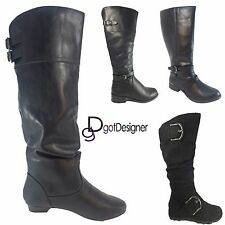 Women's Black Combat Military Boots Zipper Buckle New Fashion Shoes Size 5 -11