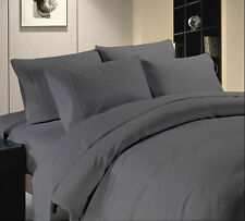 Elegant Comfort 800 1000 1200 1500 TC  Dark Grey Solid 100% Egyptian Cotton