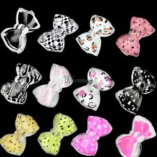 20PCS Hot 3D Nail Art Tips Bow Tie Slices Acrylic Decoration Bling Lot WT88