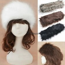 Women Wide Russian Winter Warm Ear Muff Faux Fur Headband Hat Ski Cap WT88
