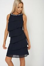 Navy Blue Ruffle Dress Embellished Neckline Size 6 8 10 12 14 16 18 20 22