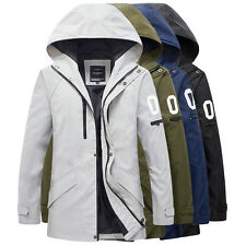 Men's Slim Fit Casual Hooded Trench Coat Outerwear Warm Jacket Plus Size XS~3XL