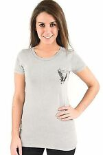 Lucky 7 Gray Ladies Guardian Angel Black Crystal Wings T-Shirt $55.90 CAD NWT