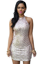 New Sexy Womens Turtleneck Sparkling Sequin Tank Mini Party Formal Dress Cute