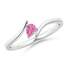 Pear Shape Natural Pink Sapphire Solitaire Ring in 14k White Gold Women's Size 7