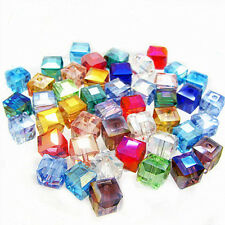 Lot 50/100Pcs Faceted Square Cube Glass Loose Spacer Beads Jewelry Accessory 6mm