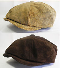 100% genuine leather made in usa Newsboy Snap Applejack Hat cap Driving Cabbie