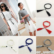 New Women Ladies Braided Belt PU Leather Tassel Thin Narrow Waist Waistband Gift