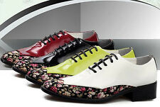 FASHION MENS LACE UP OXFORDS FLOWER PATENT LEATHER CASUAL DRESS Wedding SHOES