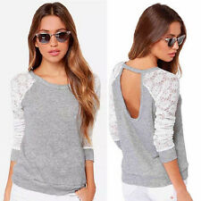 Korean Womens Lace Sleeve Shirt Casual Loose Cotton Tops T-Shirt Gray Summer