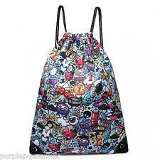 Drawstring Bag Cartoon Graffiti PE School Games Gym Bag Boys Ladies Girls New