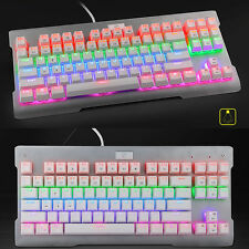 87 Keys Mixed LED Backlit Wired USB Ergonomic Gamer Gaming Mechanical Keyboard