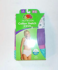 Fruit of the Loom Womens 3 Pack Cotton Stretch Briefs Various Size 7 NIP