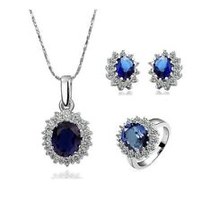 New Luxury Women 18K Gold Plated Blue Crystal Necklace Ring Earrings Jewelry Set