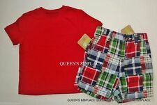 Nwt Crazy 8 boys size 12-18-24 months red t-shirt top plaid shorts set outfit