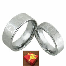Tungsten Wedding Band Two Ring Set Ornate Crosses Silver Unisex Size 5-13