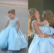 Wedding Flower Girl Dresses Blue Formal Party Baby Pageant Gowns Custom Size New