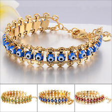 Turkish Jewelry 14K Yellow Gold Filled Evil Eye Chain Bracelet Protection