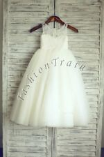 Flower Girls Floral Lace Pageant Princess Formal Wedding Bridesmaid Gown Dress