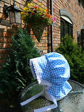 GIRLS/LADIES BLUE GINGHAM VICTORIAN,PRAIRIE, BO PEEP, BONNET, HAT, HEN NIGHT.