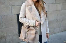 Zara wool coat jacket with patch pockets fur lapel bloggers sold out new M