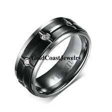 8MM Titanium Mens Black Grooved Ring Multi CZ Stone Wedding Band Ring Size 9-13