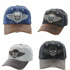 Cap Skull wings Motorcycle Vintage 2 Tone Denim Stonewashed Frayed Embroidered